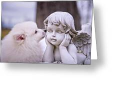 Puppy And Angel Greeting Card by Bonnie Barry