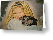 Puppy Love Greeting Card by Roberta Dunn