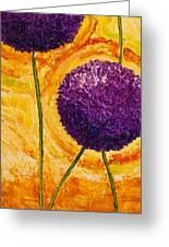 Purple Allium Flowers Greeting Card by Paris Wyatt Llanso