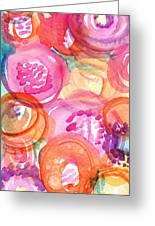 Purple And Orange Flowers Greeting Card by Linda Woods