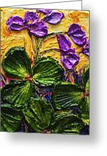 Purple Flowers Shamrocks Greeting Card by Paris Wyatt Llanso