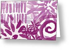 Purple Garden - Contemporary Abstract Watercolor Painting Greeting Card by Linda Woods