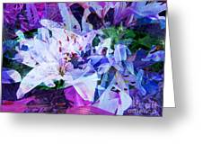 Purple Lillies Abstract Greeting Card by Shelly Leitheiser