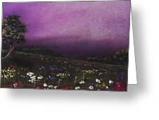 Purple Meadow Greeting Card by Anastasiya Malakhova