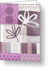 Purple Patchwork- Contemporary Art Greeting Card by Linda Woods