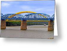 Purple People Bridge And Big Mac Bridge - Ohio River Cincinnati Greeting Card by Christine Till