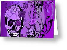 Purple Skulls Greeting Card by M and L Creations