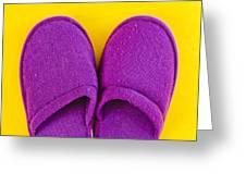 Purple Slippers Greeting Card by Tom Gowanlock