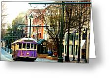 Purple Trolley Greeting Card by Barbara Chichester