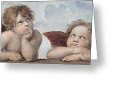 Putti Detail From The Sistine Madonna Greeting Card by Raphael