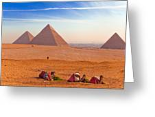 Pyramids And Camels Greeting Card by Matthew Bamberg