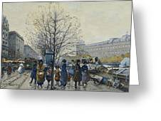 Quai Malaquais Paris Greeting Card by Eugene Galien-Laloue