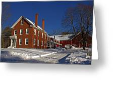 Quaint Maine Winter Farm Greeting Card by Catherine Melvin