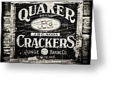 Quaker Crackers Rustic Sign for Kitchen in Black and White Greeting Card by Lisa Russo