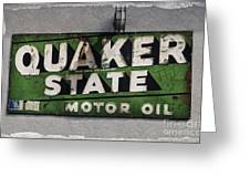 Quaker State Motor Oil Greeting Card by Janice Rae Pariza