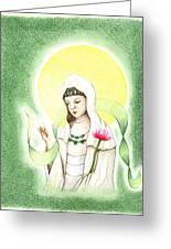 Quan Yin Greeting Card by Keiko Katsuta