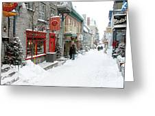 Quebec City In Winter Greeting Card by Thomas R Fletcher