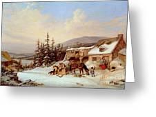 Quebec Greeting Card by Cornelius Krieghoff