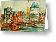 Queen City Skyline Cincinnati Oh Greeting Card by Elaine Duras