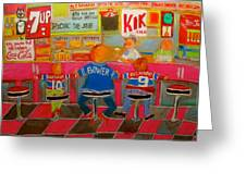 Quick Deli With Staff Greeting Card by Michael Litvack