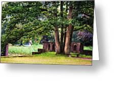 Quiet Park Corner. De Haar Castle Greeting Card by Jenny Rainbow