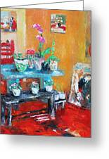 Quiet Time Corner Greeting Card by Becky Kim