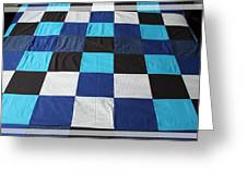Quilt Blue Blocks Greeting Card by Barbara Griffin