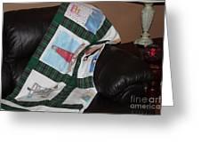 Quilt Newfoundland Tartan Green Posts Greeting Card by Barbara Griffin