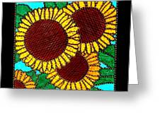 Quilted Sunflowers Greeting Card by Jim Harris