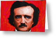 Quoth The Raven Nevermore - Edgar Allan Poe - Painterly - Red - Standard Size Greeting Card by Wingsdomain Art and Photography