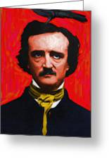 Quoth The Raven Nevermore - Edgar Allan Poe - Painterly Greeting Card by Wingsdomain Art and Photography