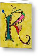 'r' Monogram Greeting Card by Joyce Auteri
