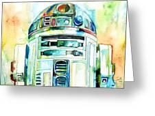 R2-d2 Watercolor Portrait Greeting Card by Fabrizio Cassetta