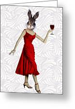 Rabbit In A Red Dress Greeting Card by Kelly McLaughlan