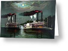 Race Of The Steamers Robert E Lee And Natchez Greeting Card by War Is Hell Store