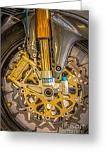 Racing Bike Wheel With Brembo Brakes And Ohlins Shock Absorbers Greeting Card by Ian Monk