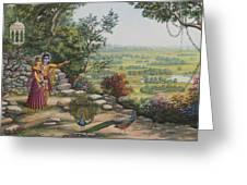 Radha And Krishna On Govardhan Greeting Card by Vrindavan Das