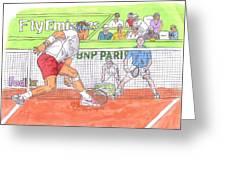 Rafa Vs. Novak Greeting Card by Steven White