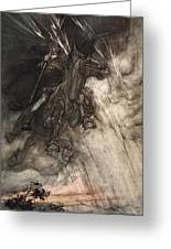 Raging, Wotan Rides To The Rock! Like Greeting Card by Arthur Rackham