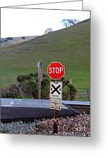 Rail Road Crossing Sign At Fernandez Ranch California - 5d21125 Greeting Card by Wingsdomain Art and Photography