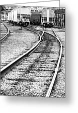 Railroad Yard Greeting Card by Olivier Le Queinec