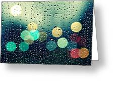 Rain And The City Greeting Card by Beata  Czyzowska Young