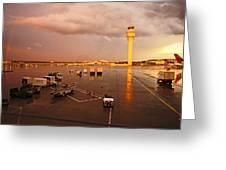 Rainbow And Airport  Greeting Card by Chikako Hashimoto Lichnowsky