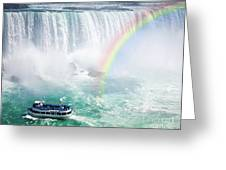 Rainbow And Tourist Boat At Niagara Falls Greeting Card by Elena Elisseeva