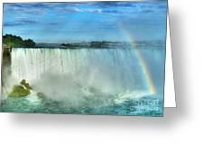 Rainbow At Niagara Greeting Card by Mel Steinhauer
