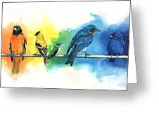 Rainbow Birds Greeting Card by Antony Galbraith