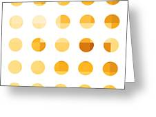 Rainbow Dots Orange Greeting Card by Pixel Chimp