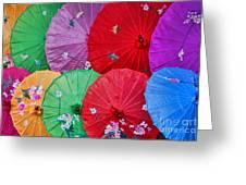 Rainbow Of Parasols   Greeting Card by Alexandra Jordankova