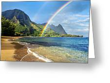 Rainbow Over Haena Beach Greeting Card by M Swiet Productions
