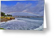 Rainbow Over Santa Cruz Greeting Card by Randy Straka